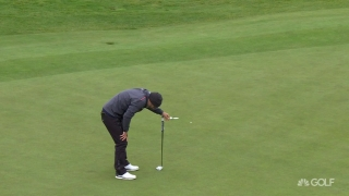 A putt that'll make you sick.. Waring misses birdie chance on fourth